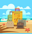 travel concept background with passenger luggage vector image vector image
