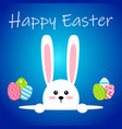 white easter rabbit with eggs funny bunny in flat vector image vector image