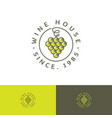 wine house logo concept restaurant bunch grapes cu vector image