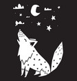 wolf howls at moon in night monochrome vector image vector image