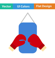 Flat design icon of Boxing pear and gloves vector image