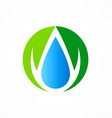 ecology abstract droplet water logo vector image