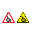 Attention of wheelchair Danger sign silhouette of vector image