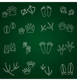 Basic animal footprints outline icons set eps10 vector image