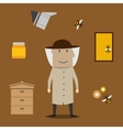 Beekeeper man and beekeeping objects vector image