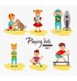 cartoon kids playing boy playing with dog vector image