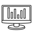 chart monitor icon outline style vector image vector image
