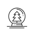 christmas snow ball thin line icon christmas tree vector image vector image