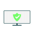 computer with green shield vector image