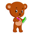 cute bear holding book and pencil vector image vector image