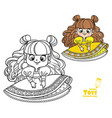 cute cartoon brunette doll in yellow drwss vector image vector image