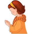 cute little girl praying christian cartoon vector image vector image