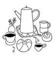 doodle breakfast outline vector image vector image