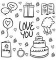 doodle of wedding various element vector image vector image