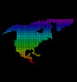 dotted pixel spectrum north america map vector image vector image