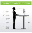ergonomic correct standing posture and height vector image vector image