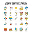 events and entertainment flat line icon set vector image