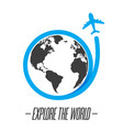 explore the world icon with plane flying around th vector image vector image
