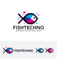 fish technology logo design vector image
