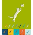 Flat design cat and butterfly vector image