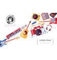 flat rock musical instruments colorful concept vector image vector image