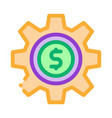 gear dollar coin icon outline vector image vector image