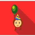 Girl in a party hat with green balloon icon vector image vector image