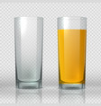 glass peach juice empty and full realistic vector image