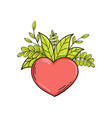 heart with green leaves symbol of love and life vector image vector image