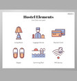 hostel elements linecolor pack vector image