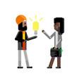 indian businessman holding idea light bulb vector image vector image