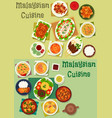 malaysian cuisine icon set for healthy food design vector image vector image