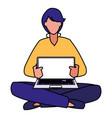 man using laptop computer vector image vector image