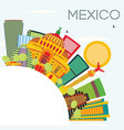 mexico skyline with color buildings blue sky and vector image