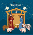 nativity scene merry christmas and happy new year vector image