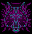 neon wolf print for t-shirts vector image
