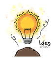 new idea head with a glowing lightbulb vector image vector image