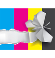 Origami butterfly ripping paper with print colors vector image