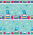 owl bookshelf stripe seamless pattern vector image vector image