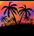 palms black background vector image