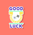 paper sticker on stylish background good luck logo vector image vector image