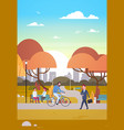 people relaxing in beautiful autumn urban park vector image vector image