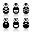 russian doll retro babushka icons set
