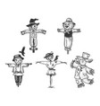 scarecrow set line art sketch vector image