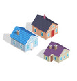 set 3d small isometric houses with chimneys vector image
