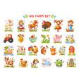 set farm animals vector image vector image