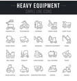 set line icons heavy equipment vector image vector image