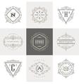 set monogram calligraphic logo vector image vector image