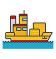 ship cargo container flat line vector image vector image
