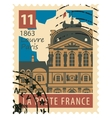 stamp with Paris Louvre vector image